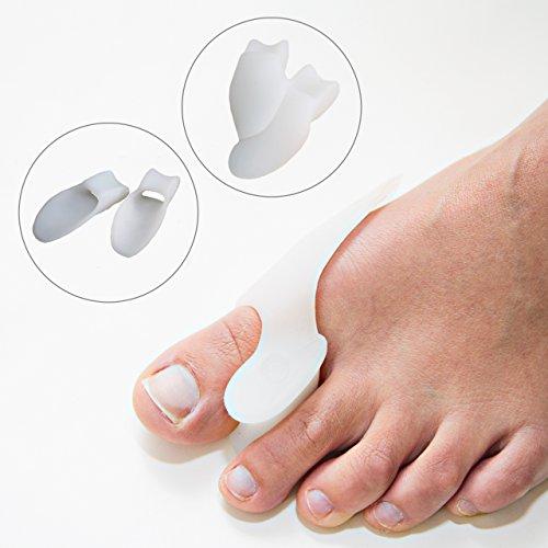 Flexible Zehenspreizer aus Soft-Gel-Silikon für Hallux Valgus Fehlstellungen (2 Stk.) - Hilfe und Korrektur bei Druckstellen, Frostballen, Hammerzehen, Krallenzehen, Hühneraugen oder als Ballenschutz
