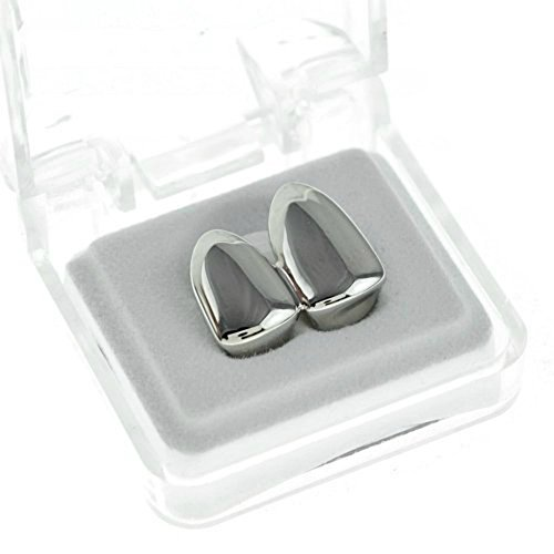 41GgYKPrJnL - BEST BUY #1 Double Cap Grillz Plain Canine Bling Two Tooth Hip Hop Teeth Grills Reviews uk