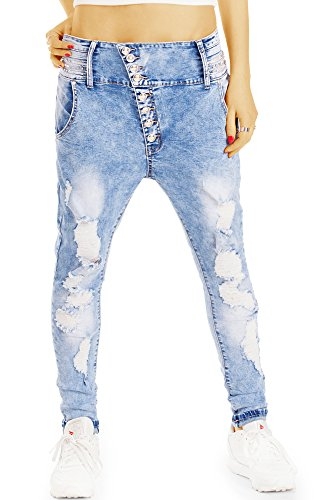 bestyledberlin Damen Acid Wash Jeans, Super Destroyed Baggy-Jeans, Relaxed Fit Boyfriend-Jeans j73f 38/M (Jeans Acid Wash)