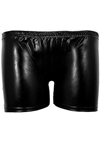 SAPHIR Femmes Danse Gym De Gymnastique Métallisé Brillant Extensible Shorts De Dames Short Court Noir