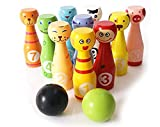 #4: AdiChai Wooden Bowling Set for Kids With Bowlings bowls and Pins - Eco Friendly Wooden Toy