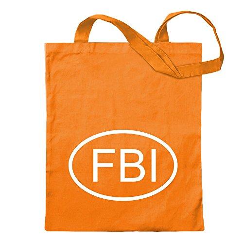 KIWISTAR - FBI Jutebeutel in 12 verschiedenen Farben - Tragetasche bedruckt Sprüche Spruch Motive Baumwolltasche Print Stoffbeutel Umhängetasche langer Henkel