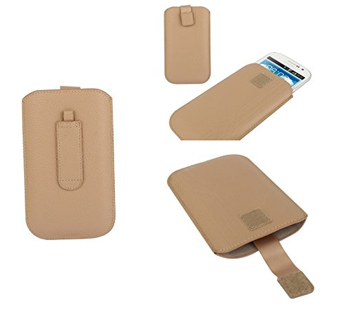 """DFV mobile® - Pouch Case Lines Embossing & Belt Loop & Pull Tab Velcro for =>     APPLE IPHONE 6 [4,7""""] > Pink Beige"""