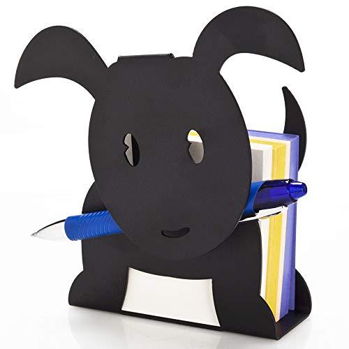 Artori Design | Petit chien | Porte Bloc-notes et porte-stylos en métal | Pour l'espace de travail ou le bureau | Notes en forme de chien | Porte mémos | Cadeau d'école de bureau