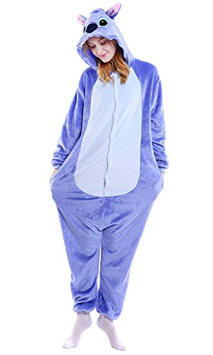 Für Kostüm Erwachsene Stitch - Dolamen Erwachsene Unisex Jumpsuits, Kostüm Tier Onesie Nachthemd Schlafanzug Kapuzenpullover Nachtwäsche Cosplay Kigurum Fastnachtskostuem Xmas Halloween (Medium (61