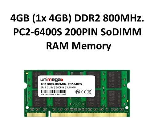 Workstation-800-speicher (unimega 4GB DDR2 800MHz PC2-6400S 200PIN 1,8V SoDIMM RAM Speicher Memory)