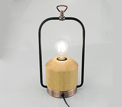 Lampe à poser bois et métal finition laiton vieilli style