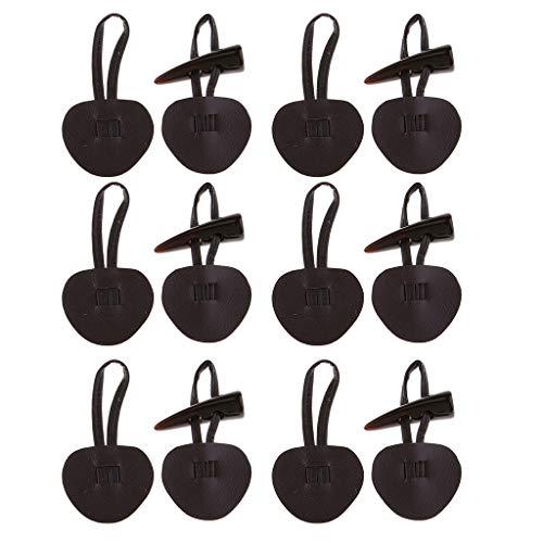 perfk 6 Set PU Leder Schnalle Knebelverschluss Horn Verbindung Dufflecoat Verschluss für Kleidung, Duffle, Mantel, Schal - Kaffee -