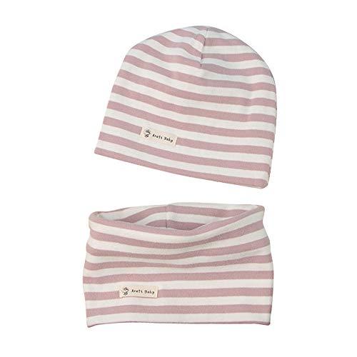 LACOFIA Baby Jungen Mädchen Beanie Mütze und Loop Schal Set Kinder Weiche 100% Baumwolle Strickmützen Kleinkind Hut und Kragen Schals Rosa Streifen 0-6 Monate