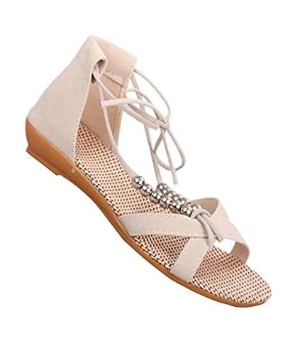 YOUJIA Femmes Lacets Peep Toe Romain Sandales Tongs Chaussures de
