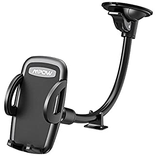 Phone Holder for Car, Mpow Windscreen Long Flexible Arm Car Phone Mount Universal Windshield Cars Mount with Extra Dashboard Base Cradle for iPhone XS X/10 8 7 6s Plus Samsung S9 HTC Sony LG and Other