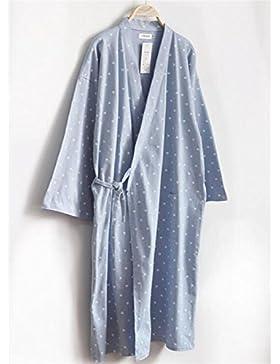 DDOQ Pareja Bata de Baño de Algodón Bata de Dormir Camisón (Color : Azul, Tamaño : L)