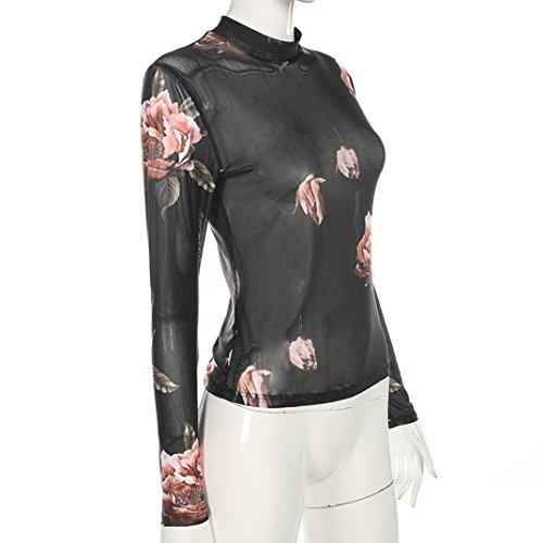 Camiseta transparente de flores Moda,Longra ✿ Atractiva Camiseta transparente para mujer, manga larga, de tul (Negro, L)