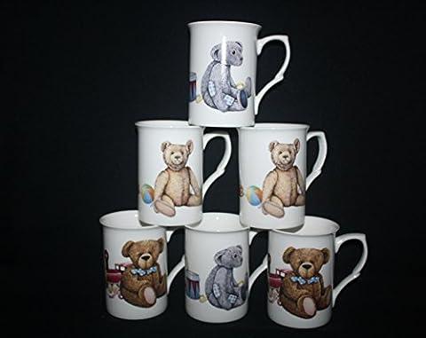 6tasses en porcelaine fine et Teddy Bears Jouets nouveauté Tasses Coffret cadeau