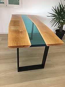 Tavolo da PRANZO in legno e RESINA epossidica atossica di ...