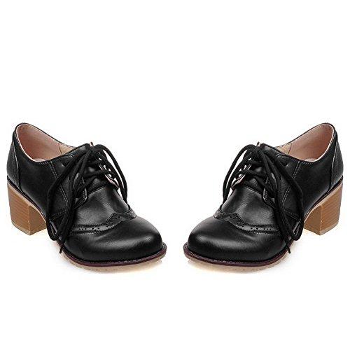 VogueZone009 Femme Couleur Unie Matière Souple à Talon Correct Lacet Rond Chaussures Légeres Noir