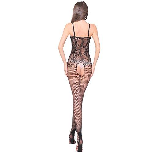 Ailin home- Europa und die Vereinigten Staaten sexy sexy hohlen Spitze Jacquard Bogen offenen Gabelung Stück Netz Kleidung Schwarz