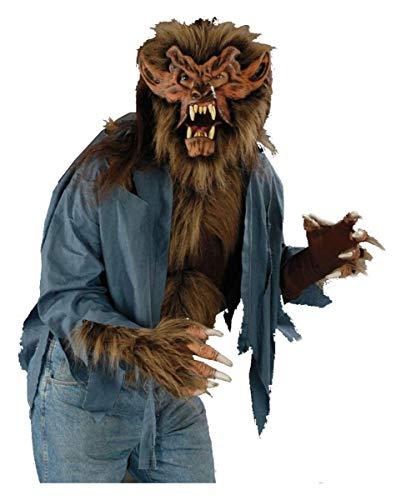 Braunes Werwolf Shirt mit Kunstfell für -