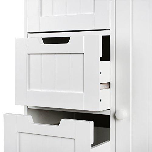 HOMFA Landhaus Kommode Sideboard Schubladenkommode Highboard Schrank Anrichte Mehrzweckschrank mit 4 Schubladen und 1 Tür 56x30x83cm (Weiß mit 4 Schubladen und 1 Schrank Abteil) - 5