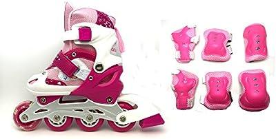 Patines en línea para niños - incluye conjunto de protección - Talla ajustable - 3 colores disponibles