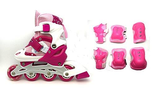 Kinderinliner Inlineskates mit Schutzset und leuchtender Frontrolle - Größenverstellbar über vier Größen - 3 Farben zur Auswahl