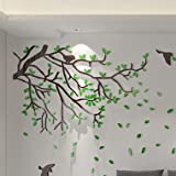 Street lamp tree crystal solid wall sticker study bedroom wall sofa wall living room TV background wall sticker,202 street tree A, left green leaves black branch black birds,large