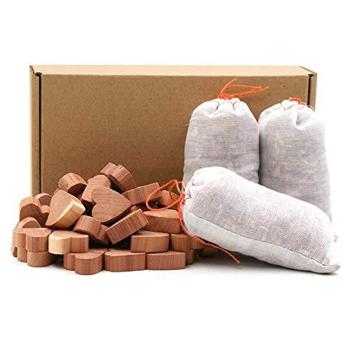 TanJean Cedar Moth Repellent, paquete de 50 corazones de cedro de polilla, paquete de 3 sobres de aroma de cedro Accesorios de almacenamiento Armarios y cajones Ambientador