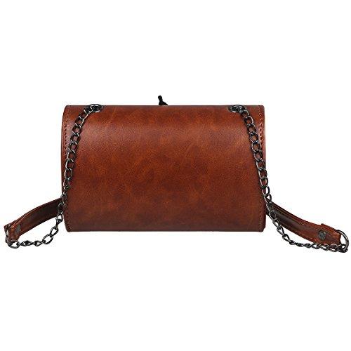 xhorizon Modische Feder Crossbody-Tasche Schultertasche aus Leder Messenger-Tasche Nietentasche Ketten-Schultertasche für Damen Braun