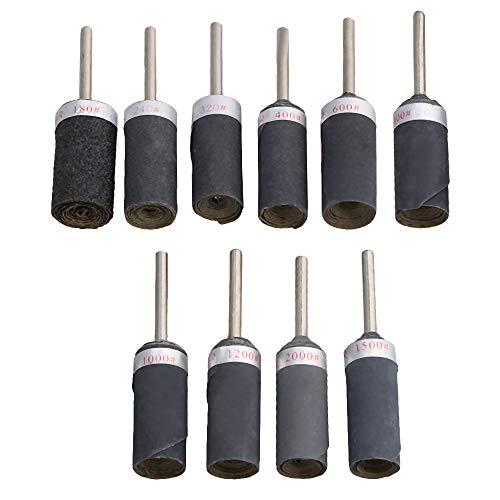 CNBTR Schleifpapier-Schleifmaschine, 3 mm Schaftdurchmesser, Schleifwerkzeug für Metall, Holzbearbeitung und Edelstein, verschiedene Schleifpapier, Körnung 180 bis 2000, 10 Stück