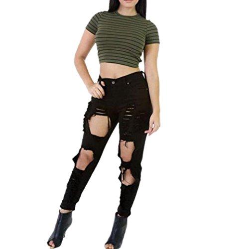 Hffan Damen Mode Cool Ripped Cut Dünn Lange Jeans Baumwolle Hose Schlank Passen Bleistift Hose Boyfriend Jeans, Slim Fit Hosen, Stretch Jeanshosen, zerrissene jeans damen (XXL) (Passform-jeans-latzhose)