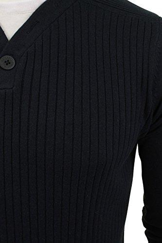 Herren gerippter Pullover von Dissident mit T-Shirt Besatz Dark Navy