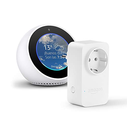 Amazon Echo Spot, blanco + Amazon Smart Plug, compatible con Alexa