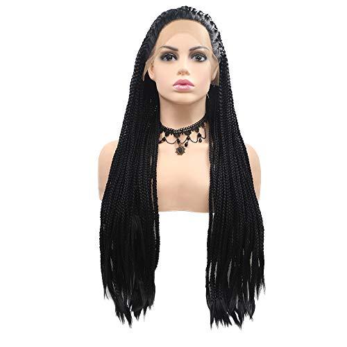 YLAB Perücke, lang, schwarz, brasilianisch, geflochten, Kunsthaar, modisch, elegant, hochwertig, für Frauen, Schwarz - Faser-ergänzung Kapseln