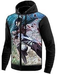 Cosstars Attack on Titan Aot Anime Sudaderas con Capucha Hoodie Sweatshirt Adulto Cosplay Luminoso Zip Jacket