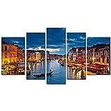 So Crazy Art Schwarz Weiß und Rot 5Panel Wand-Kunst Malerei Italien Venedig Brücke Gondel Bilder Prints auf Leinwand City Das Bild Decor Öl für Home Moderne Dekoration Print