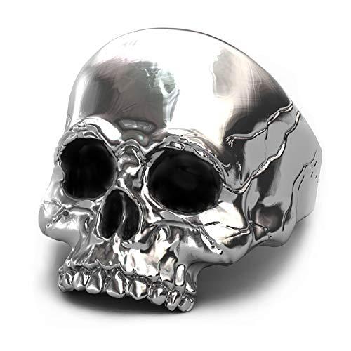 EVBEA anillo de calavera plata de motero grande para hombre para meñique ideal como regalo (9)