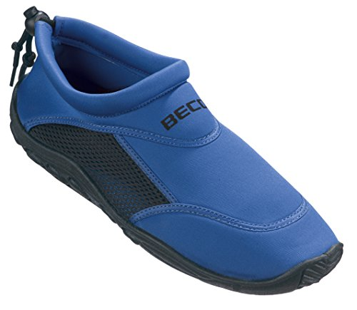 BECO Badeschuhe / Surfschuhe für Damen und Herren Schwarz 36, blau/schwarz