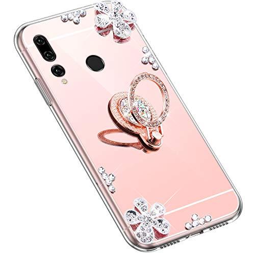 Uposao Kompatibel mit Huawei P Smart Plus 2019 Hülle Glitzer Diamant Glänzend Strass Spiegel Mirror Handyhülle mit Handy Ring Ständer Schutzhülle Transparent TPU Silikon Hülle Tasche,Rose Gold