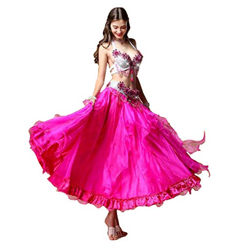 Tanz Maß Kostüm Nach - NANXCYR Damen Fairy Belly Dance Rock Chiffon Rock Kostüm Halloween Dance Outfit Eleganter Ballsaal Langes Latin Performance Kleid Bollywood Kleid,Rosa,XL