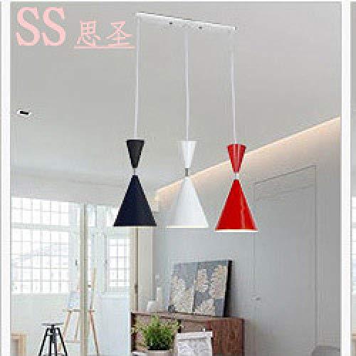 Moderne minimalistische Restaurant Lampe kreative Persönlichkeit Esszimmer Bar Eisen Pendelleuchte drei Köpfe gerade Disc Restaurant Lampe