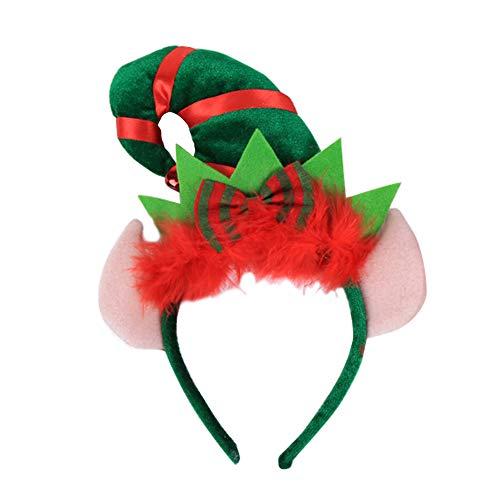 strimusimak Bowknot Hair Hoop Elf Stirnband Weihnachten Hut Party Kostüm Headwear Geschenk with Ear#