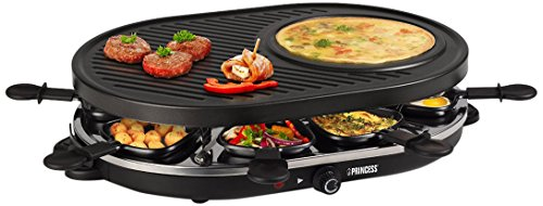 Princess 01.162700.01.001 Raclette 8 Oval Grill Party, Nero