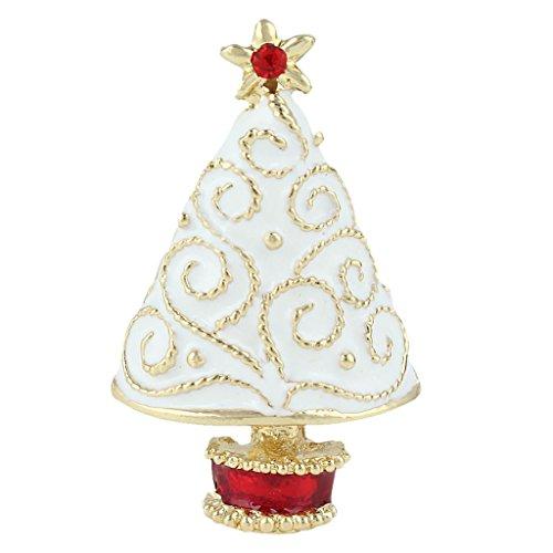 Ever Faith White Star Brooch dell'albero di Natale austriaco della radura di cristallo dello smalto Gold-Tone N04523-2 - Bambino Epoca Spilla Gioiello