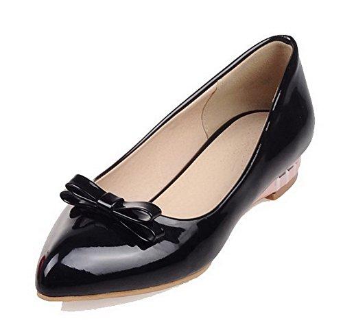 VogueZone009 Femme Pu Cuir Couleur Unie Tire Pointu à Talon Bas Chaussures Légeres Noir