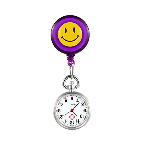 LANCARDO Uhren, Silikon Krankenschwester Armbanduhr FOB-Uhr Damen Lächeln Digitale Analog Revers Stretch verstellbar Länge Taschenuhr (lila)