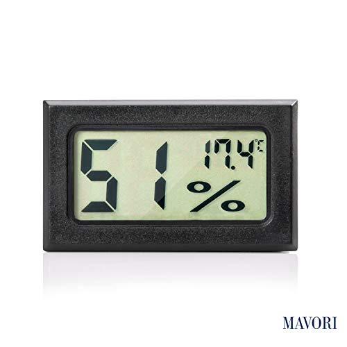 MAVORI® Digital Mini Innen Thermometer Hygrometer - Raumthermometer und Luftfeuchtigkeitsmessgerät für Wohn- und Büroräume, Keller, Terrarium, Auto (1 Stck.)