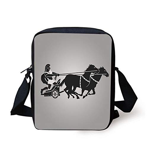 Toga Party,Mythological Chariot Gladiator with Horse Traditional Greek Culture Image Decorative,Dimgrey Black Print Kids Crossbody Messenger Bag Purse