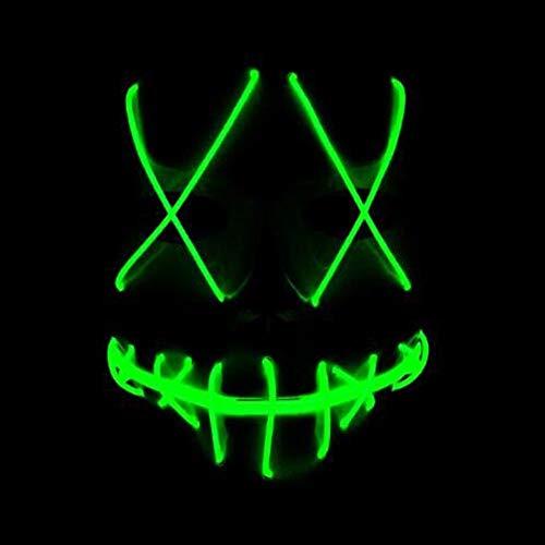 Starall Mode Halloween Cosplay Ghost Maske Schlitz Mund Leuchten Glowing EL Draht Nette Masken Für Kostüm Party (grün)