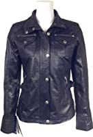 Ladies Black Real leather Jacket washed Look #F7