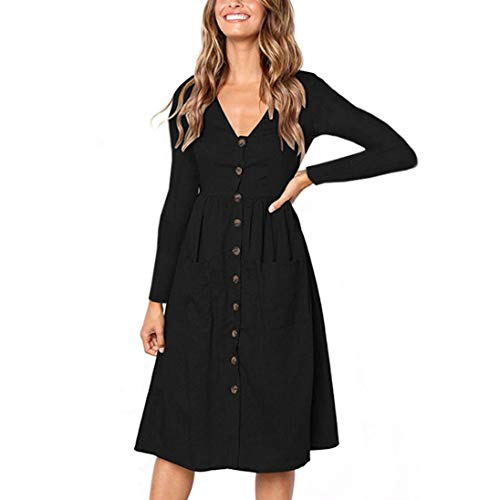 (MRULIC Womens Holiday Striped Damen Sommer Strand Buttons Party Kleid (EU-38/CN-M, Schwarz))